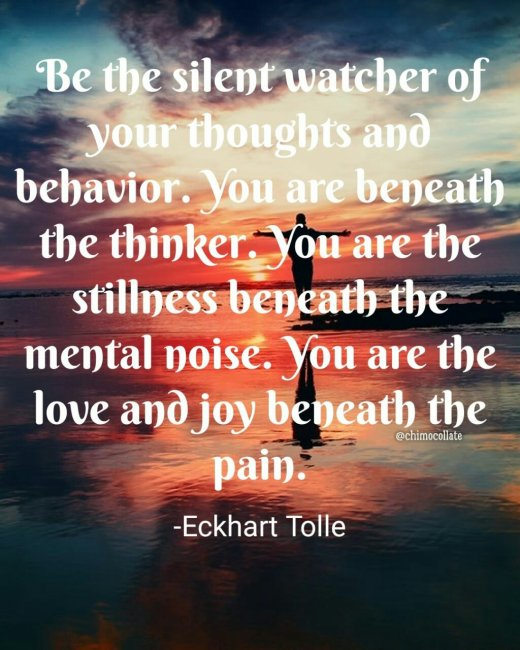 """""""Be the silent watcher of your thoughts and behavior. You are beneath the thinker. You are the stillness beneath the mental noise. You are the love and joy beneath the pain.""""― Eckhart Tolle"""